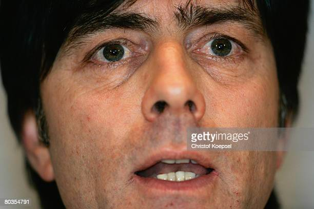 Head coach Joachim Loew attends the German National Team press conference at the Hotel Ramada Plaza on March 24 2008 in Basel Switzerland