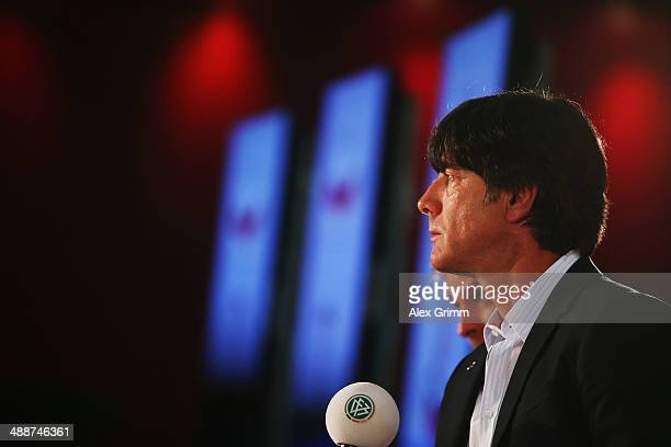 Head coach Joachim Loew attends the Germany FIFA World Cup 2014 Squad Announcement press conference at the DFB headquarters on May 8 2014 in...