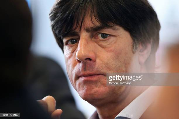 Head coach Joachim Loew attens a Germany Press Conference at DFB headquarters on October 18 2013 in Frankfurt am Main Germany