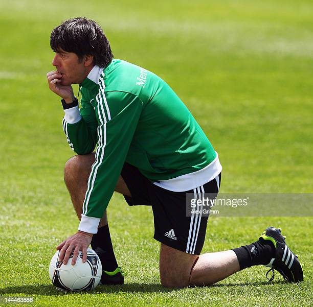 Head coach Joachim Loew follows a Germany training session at Campo Sportivo Comunale Andrea Dora on May 14 2012 in Olbia Italy