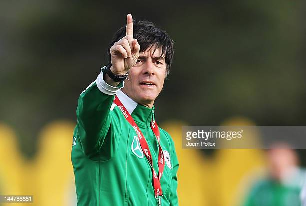 Head coach Joachim Loew gestures during a Germany training session at stadium Tourette on May 19 2012 in Tourrettes sur Loup France