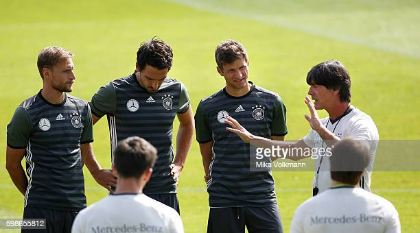 DFB head coach Joachim Loew gives instructions during the training of the german national football team on September 2 2016 in Duesseldorf Germany