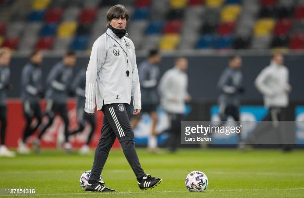 Head coach Joachim Loew is seen during a German National Team training session at Merkur Spiel-Arena on November 15, 2019 in Duesseldorf, Germany....