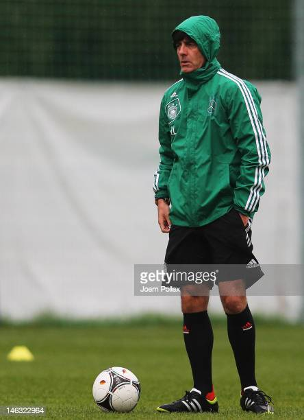 Head coach Joachim Loew is seen during a Germany training session at their UEFA EURO 2012 training ground ahead of their UEFA EURO 2012 Group B match...