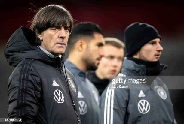Head coach Joachim Loew looks on during a German National Team training session at Merkur Spiel-Arena on November 14, 2019 in Duesseldorf, Germany....