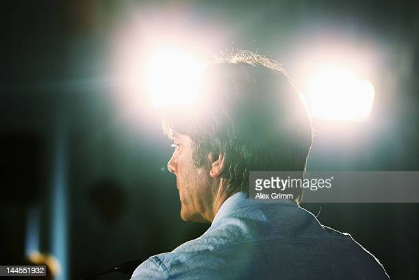 Head coach Joachim Loew looks on during a Germany press conference at hotel 'Le Ginestre' on May 16 2012 in Porto Cervo Italy