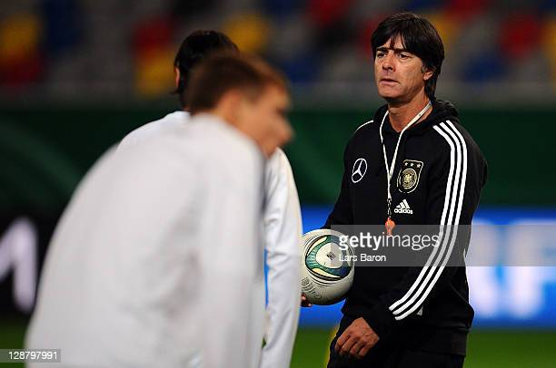 Head coach Joachim Loew looks on during a Germany training session at Esprit Arena on October 9, 2011 in Duesseldorf, Germany.