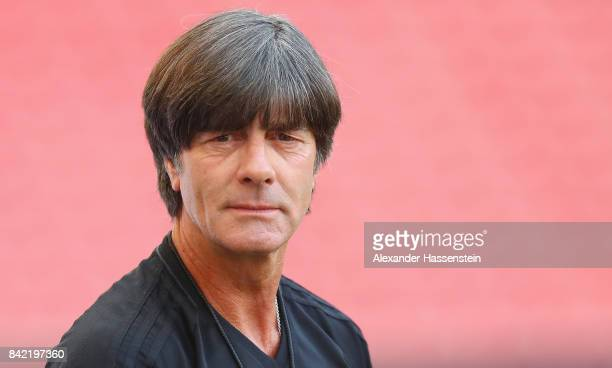 Head coach Joachim Loew looks on during a Germany training session at MercedesBenzArena ahead of their FIFA World Cup Russia 2018 Group C Qualifier...