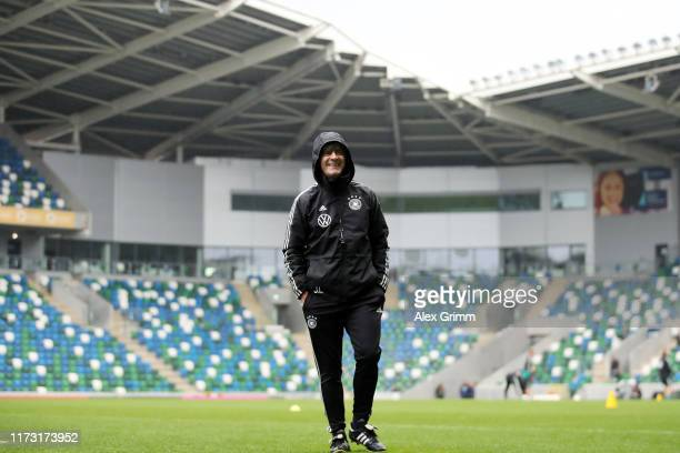 Head coach Joachim Loew looks on during a Germany training session ahead of the UEFA Euro 2020 qualifier match between Northern Ireland and Germany...