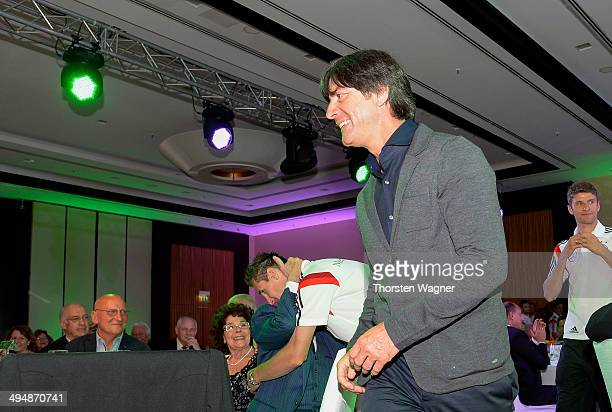 Head coach Joachim Loew looks on during the German Football Association wolrd champions party at Intercontinental Hotel on May 31 2014 in Duesseldorf...