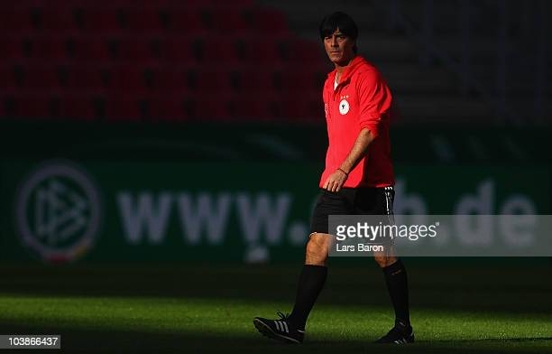 Head coach Joachim Loew looks on during the Germany training session at RheinEnergieStadion on September 6, 2010 in Cologne, Germany.