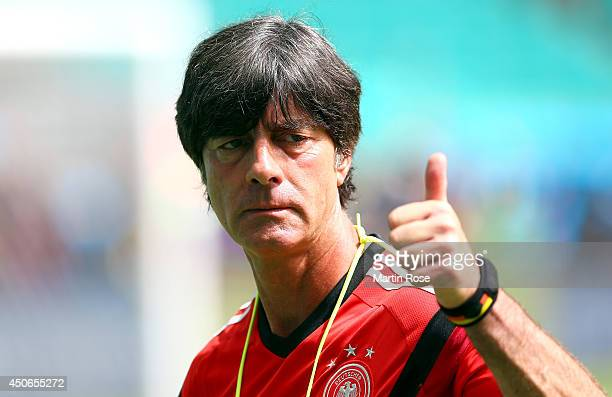 Head coach Joachim Loew looks on during the Germany training session ahead of the 2014 FIFA World Cup Group G match between Germany and Portugal held...