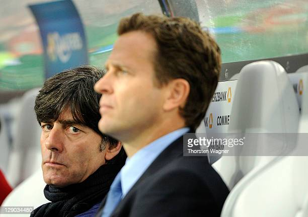 Head coach Joachim Loew looks on prior to the Euro 2012 Qualifier Group A match between Germany and Belgium at Esprit Arena on October 11 2011 in...