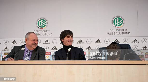 Head coach Joachim Loew media director Harald Stenger and team manager Oliver Bierhoff attend a DFB EURO 2012 press conference at Mercedes Benz World...