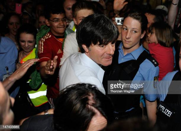 Head coach Joachim Loew of German National Football team smiles during the German National Team arrival at Franfurt Airport on June 29 2012 in...
