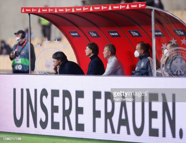Head coach Joachim Loew of Germany and his staff react during the UEFA Nations League group stage match between Spain and Germany at Estadio de La...