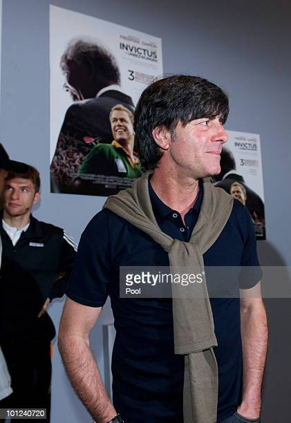 Head coach Joachim Loew of Germany and his team wait for watching the movie 'Invictus' in the Cineplexx cinema in Bolzano during the 2010 World Cup...