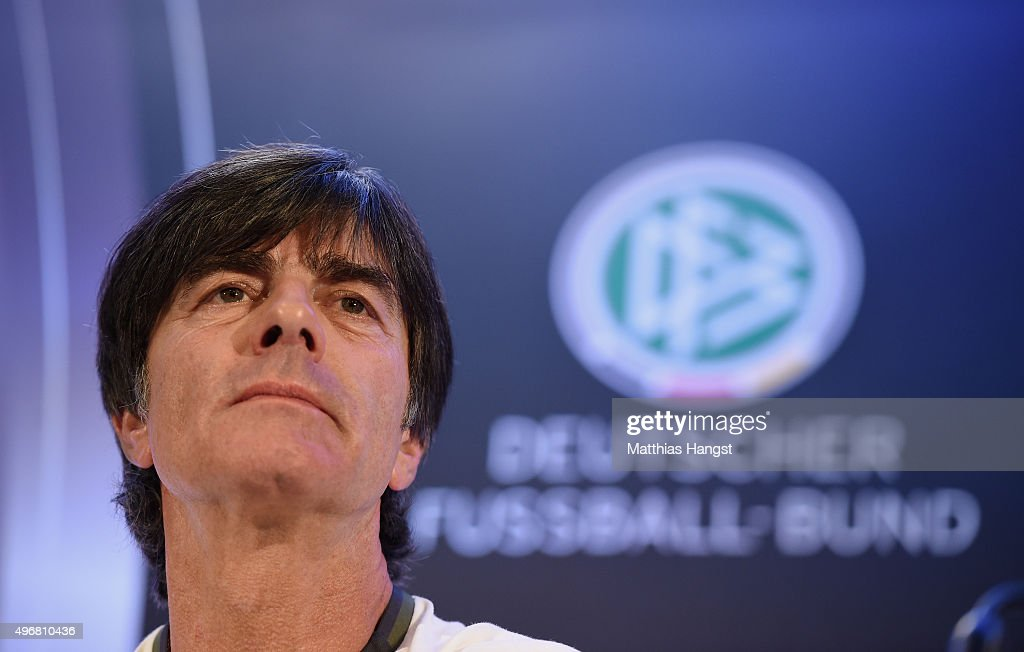 Head coach Joachim Loew of Germany attends a Germany press conference ahead of their International Friendly against France at the Radisson Blue Hotel on November 12, 2015 in Paris, France.