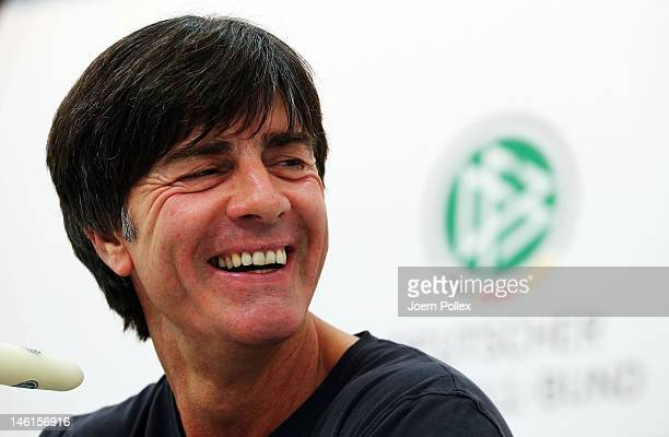 Head coach Joachim Loew of Germany attends a press conference ahead of their UEFA EURO 2012 Group B match against Netherlands at the Germany press...