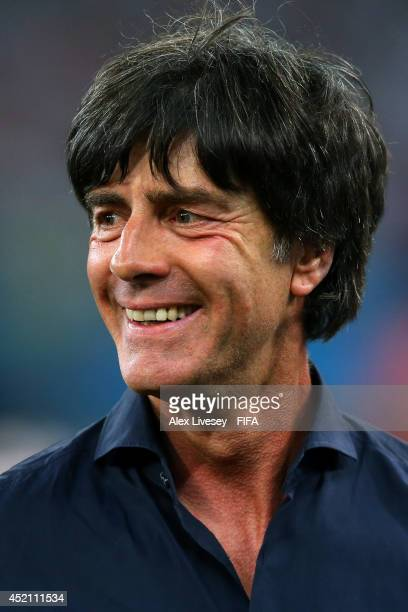 Head coach Joachim Loew of Germany celebrates the 10 win after the 2014 FIFA World Cup Brazil Final match between Germany and Argentina at Maracana...