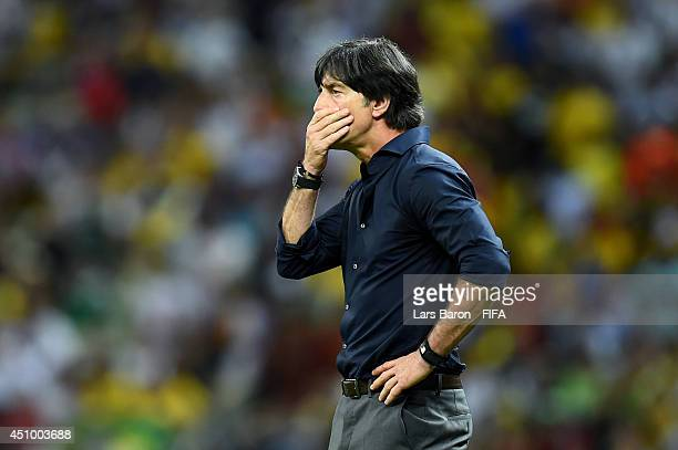 Head coach Joachim Loew of Germany gestures during the 2014 FIFA World Cup Brazil Group G match between Germany and Ghana at Castelao on June 21 2014...