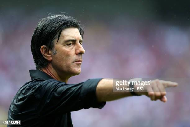 Head coach Joachim Loew of Germany gestures during the 2014 FIFA World Cup Brazil Group G match between USA and Germany at Arena Pernambuco on June...
