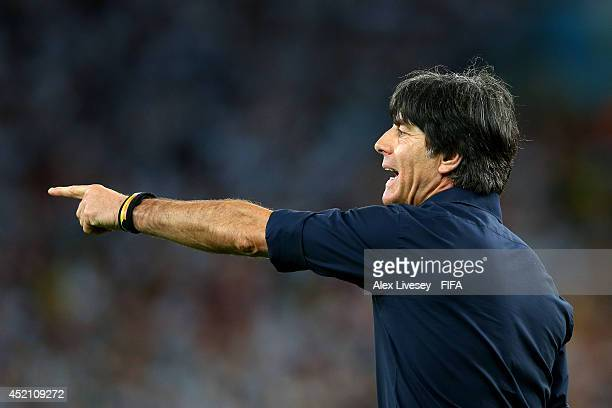 Head coach Joachim Loew of Germany gestures during the 2014 FIFA World Cup Brazil Final match between Germany and Argentina at Maracana on July 13...