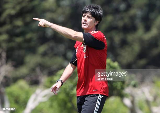 Head coach Joachim Loew of Germany gestures during the German National Team training session at Verdura Golf and Spa Resort on May 18 2010 in Sciacca...