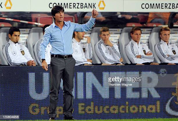 Head coach Joachim Loew of Germany gestures during the International friendly match at Mercedes Benz Arena on August 10 2011 in Stuttgart Germany