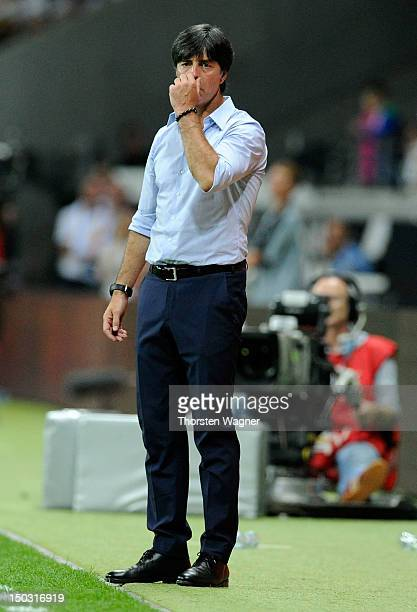 Head coach Joachim Loew of Germany gestures during the international friendly match between Germany and Argentina at CommerzbankArena on August 15...