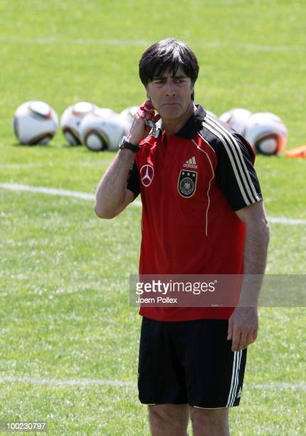 Head coach Joachim Loew of Germany gestures during training session at Sportzone Rungg on May 22, 2010 in Appiano sulla Strada del Vino, Italy.