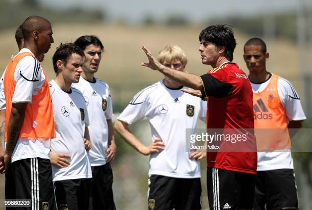 Head coach Joachim Loew of Germany instructs during the German National Team training session at Verdura Golf and Spa Resort on May 18 2010 in...