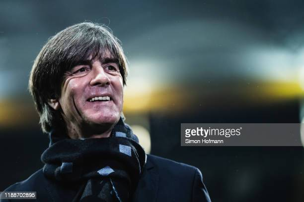Head coach Joachim Loew of Germany is smiling prior to the UEFA Euro 2020 Qualifier between Germany and Northern Ireland at Commerzbank Arena on...