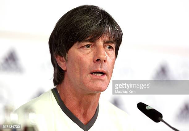 Head coach Joachim Loew of Germany looks on during a press conference ahead of a international friendly match against England at Mercedes Benz am...