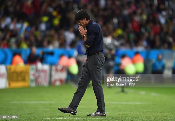 Head coach Joachim Loew of Germany looks on during the 2014 FIFA World Cup Brazil Round of 16 match between Germany and Algeria at Estadio BeiraRio...