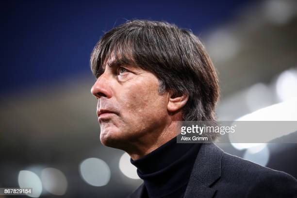 Head coach Joachim Loew of Germany looks on prior the Bundesliga match between VfB Stuttgart and SportClub Freiburg at MercedesBenz Arena on October...