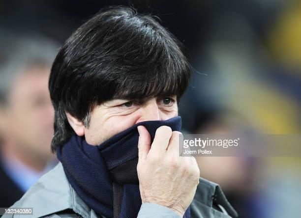 Head coach Joachim Loew of Germany looks on prior to the International Friendly match between Ukraine and Germany at Olympiyskiy Stadium on November...