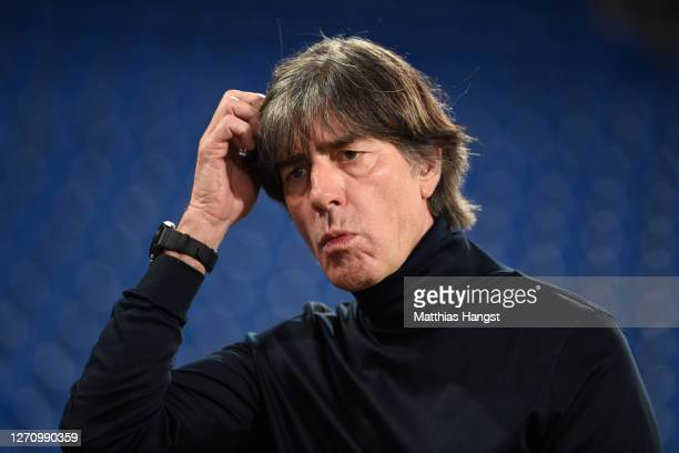 Head coach Joachim Loew of Germany looks on prior to the UEFA Nations League group stage match between Switzerland and Germany at St. Jakob-Park on...