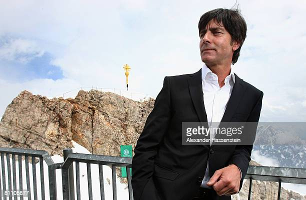 Head coach Joachim Loew of Germany poses for a photo after he announced the Euro 2008 Squad at Germany's highest mountain Zugspitze on May 16 2008 in...