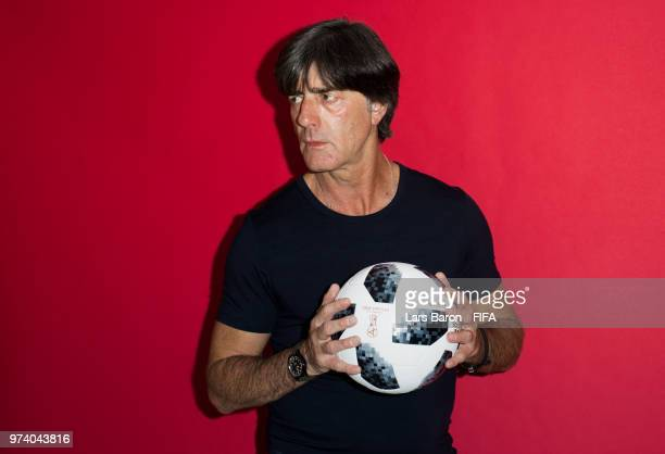 Head coach Joachim Loew of Germany poses for a portrait during the official FIFA World Cup 2018 portrait session on June 13 2018 in Moscow Russia