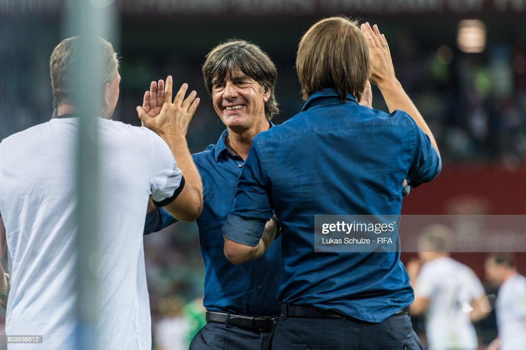Head Coach Joachim Loew of Germany (C) reacts after winning the FIFA Confederations Cup Russia 2017 Semi-Final match between Germany and Mexico at Fisht Olympic Stadium on June 29, 2017 in Sochi, Russia.