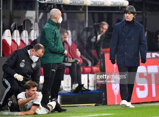 Head coach Joachim Loew of Germany reacts as Jonas Hofmann receives treatment during the international friendly match between Germany and Czech...