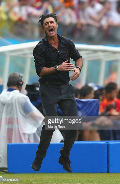 Head coach Joachim Loew of Germany reacts during the 2014 FIFA World Cup Brazil group G match between the United States and Germany at Arena...