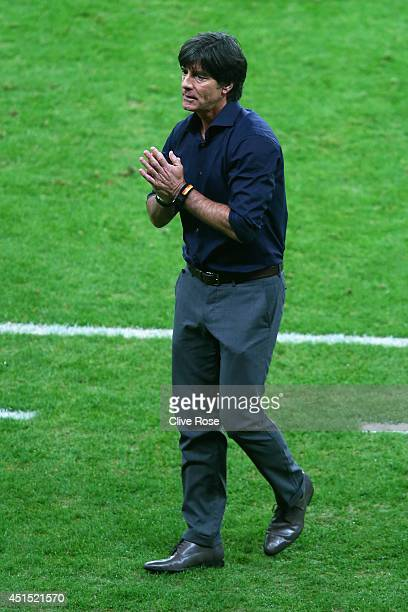 Head coach Joachim Loew of Germany reacts during the 2014 FIFA World Cup Brazil Round of 16 match between Germany and Algeria at Estadio BeiraRio on...