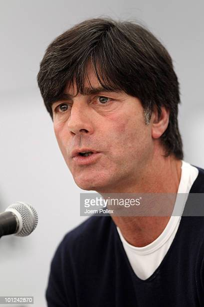 Head coach Joachim Loew of Germany speaks to the media during a press conference at Sportzone Rungg on May 28, 2010 in Appiano sulla Strada del Vino,...