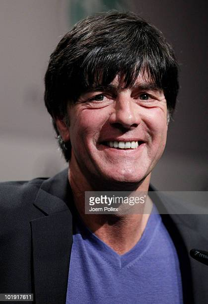 Head coach Joachim Loew of Germany speaks to the media during a press conference in the media center at Velmore Grande Hotel on June 9 2010 in...