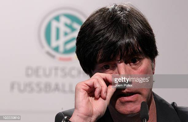 Head coach Joachim Loew of Germany speaks to the media during a press conference in the media center at Velmore Grande Hotel on June 19 2010 in...