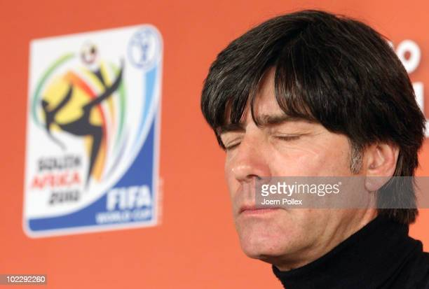 Head coach Joachim Loew of Germany speaks to the media during a press conference at Loftus Versfeld Stadium on June 22 2010 in Pretoria South Africa