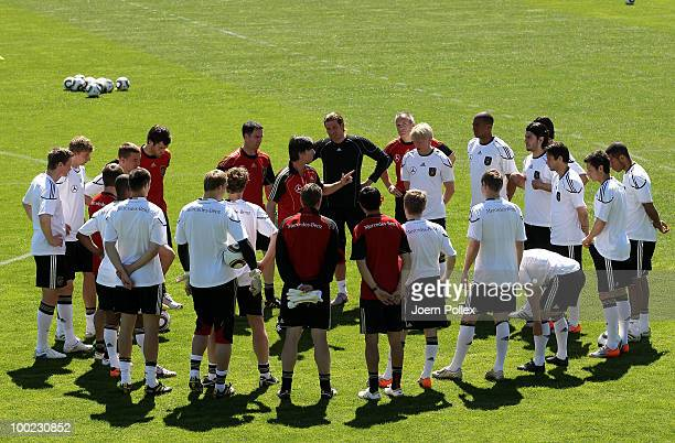 Head coach Joachim Loew of Germany talks to his players during a training session at Sportzone Rungg on May 22, 2010 in Appiano sulla Strada del...