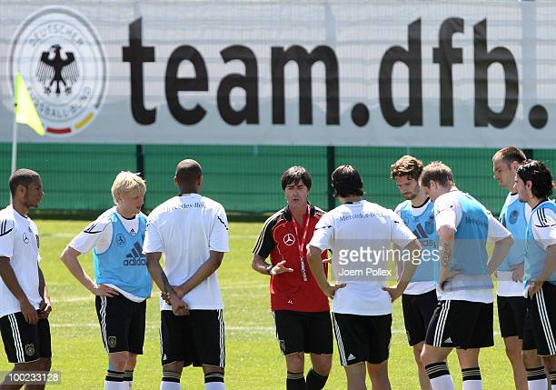 Head coach Joachim Loew of Germany talks to the german team during the training session at Sportzone Rungg on May 22, 2010 in Appiano sulla Strada...